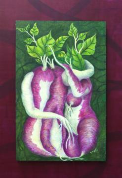 """""""Abrazo"""" Obra realizada al temple sobre tabla, en las medidas de 40x25 cm"""