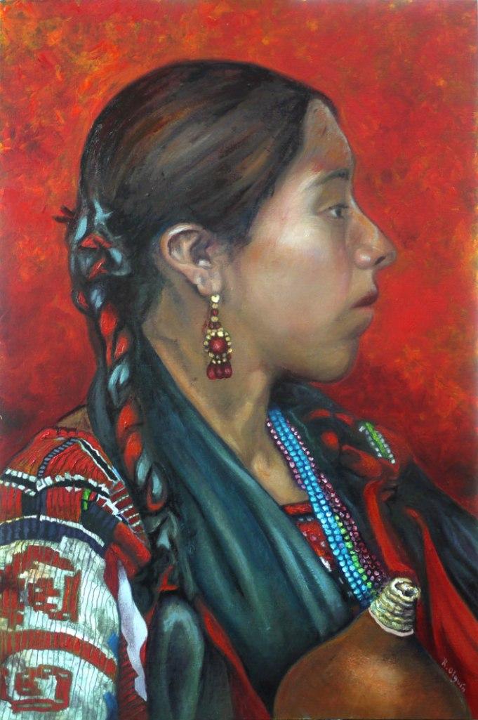 Indianism, Guelaguetza, oil, tempera, folklore, Oaxaca, portrait, 60x40cm, board, scrim, regional, Oaxaca, female, woman, mixed media