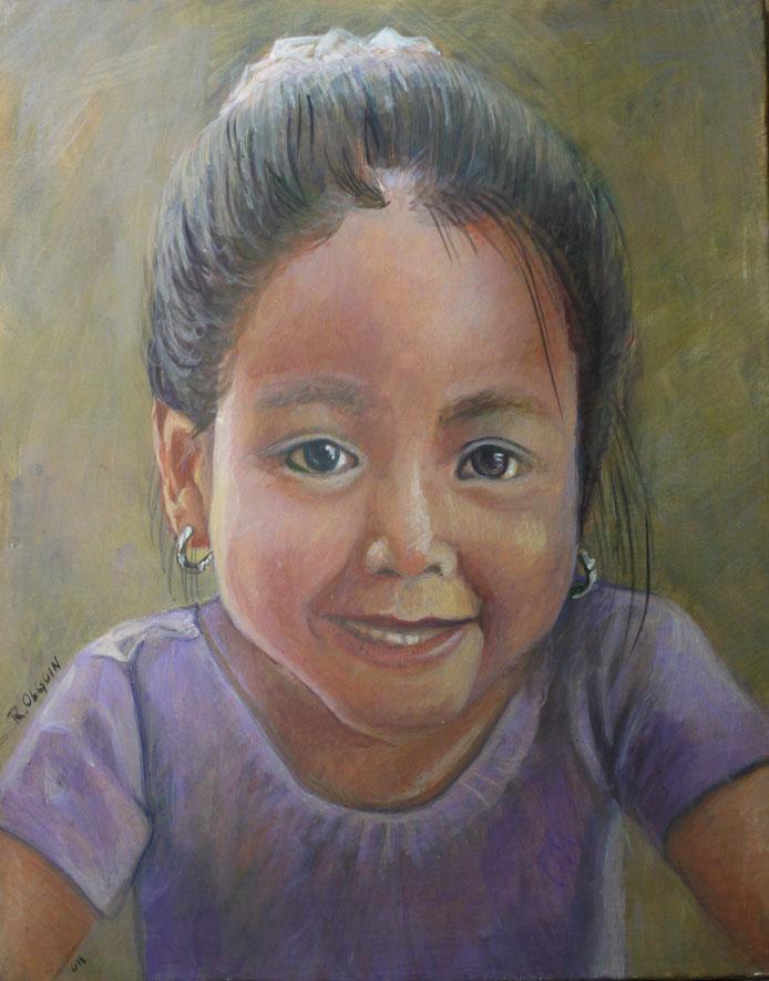 Egg tempera portrait - children