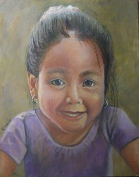 Egg tempera portrait - children