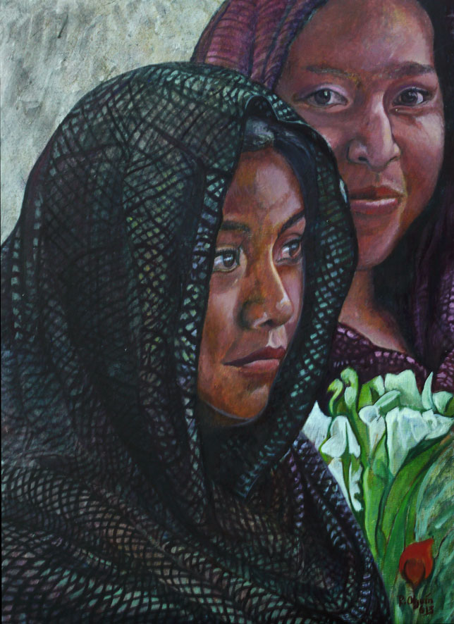 Oaxaca series - egg tempera portrait - women