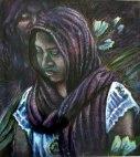 Oaxaca series - egg tempera portrait - woman