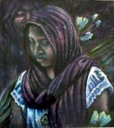 Oaxaca series - egg tempera portrait - woman