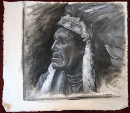Folklore - Oil painting portrait - american indian