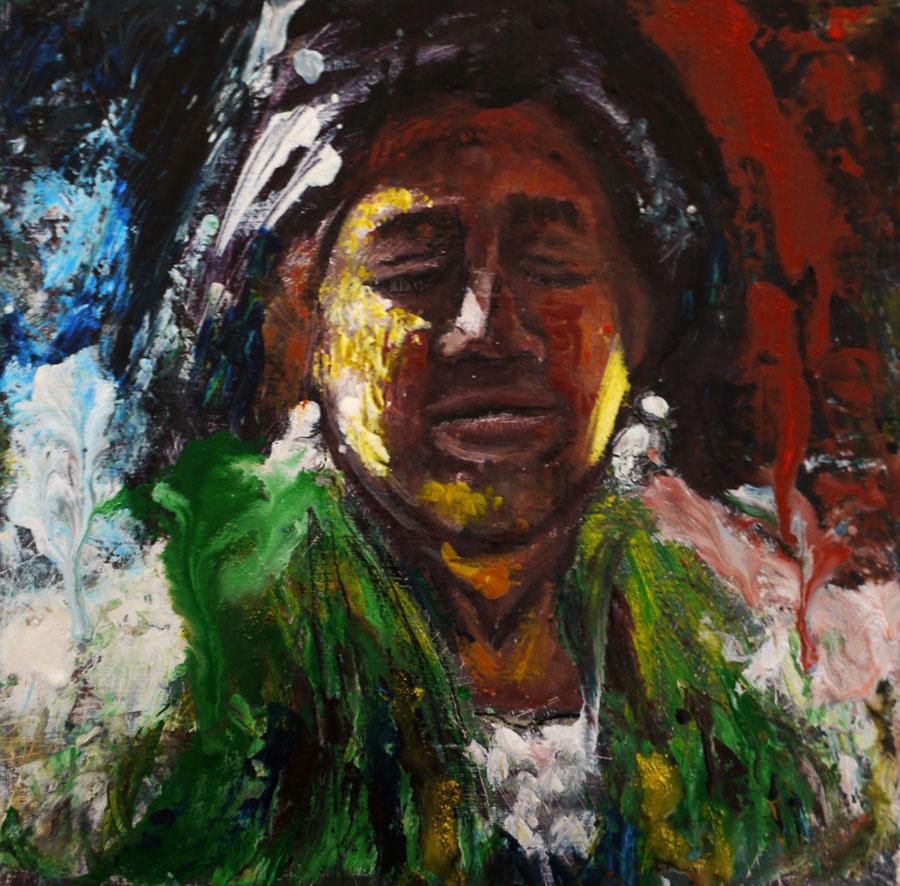 Encaustic portrait of oaxacan woman