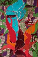 Abstracción del maguey 103.5x61 cm Acrílico, esmalte y talla en madera