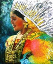 Istmeña Óleo sobre lienzo y collage 100.5x79.5 cm