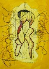 Mujer bordada 30x40 cm Acrílico y bordado