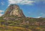 Peña de Bernal Temple sobre tabla 30x40 cm