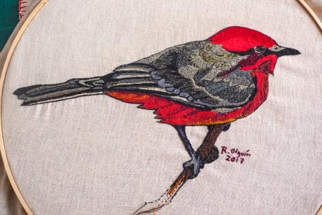 arte, oaxaca, observacion de aves, bordado, mexico, lino, costura, art, birdwatching, vermillion flycatcher, mosquero cardenal, oaxaca, sierra norte, educación, telesecundaria, ecología, cultura, rojos